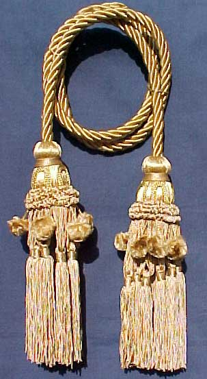 Chair tie Cord with two French Beaded Tassels
