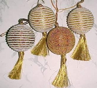 Beaded Ornament with Metallic Gold Tassel