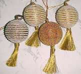 Christmas Beaded Ball Ornament with Metallic Gold Tassel