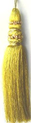 "Metallic Beaded Gold Tassel 8""H"