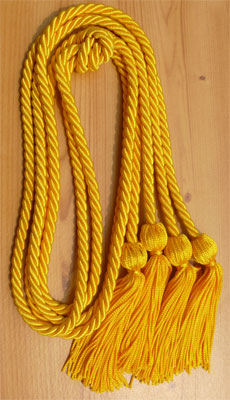 Gold double tied honor cord