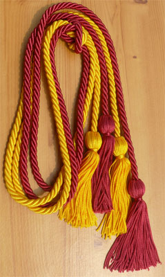 Gold and Hot Pink Double Tied honor cord