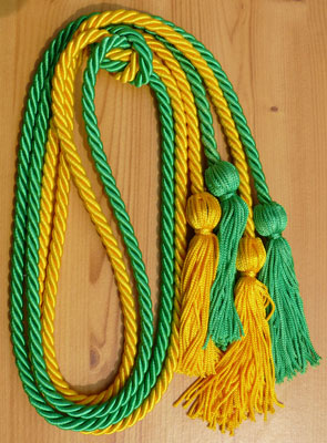 Gold and Kelly Green Double Tied honor cord