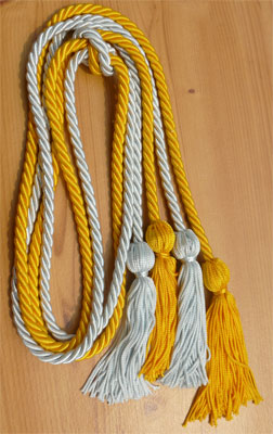 Gold and Light Blue Double Tied honor cord