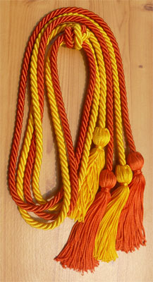 Gold and Orange Double Tied honor cord