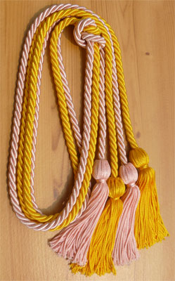 Gold and Pink Double Tied honor cord