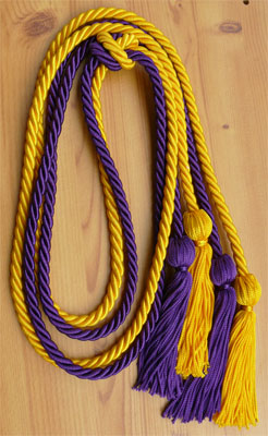 Gold and Purple double tied honor cord