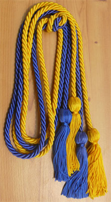 Gold and Royal Blue double tied honor cord