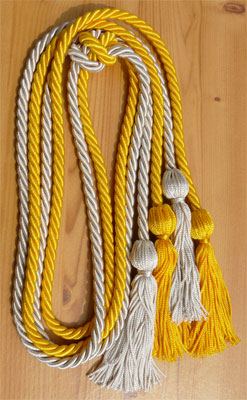 Gold and Silver Double Tied honor cord