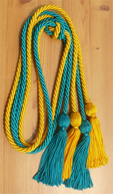 Gold and Teal Double Tied honor cord