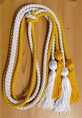 Gold and White Double Tied honor cord