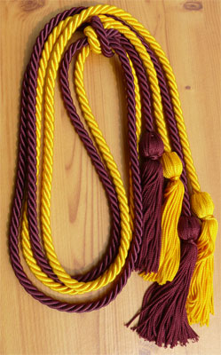 Golad and Wine Double Tied honor cord