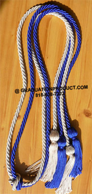 Royal blue and white double tied honor cord