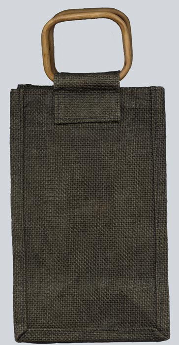 Forest Green Jute Gift Cane Handle Bag