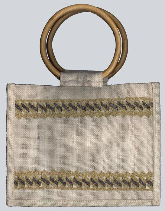 Milky White with Metallic Gold Fringe Cane Handle Bag