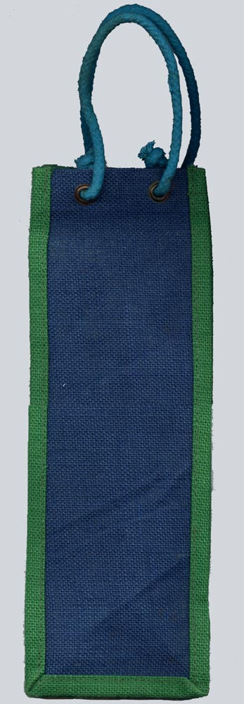 Blue with Green Border Wine Bottle Bag