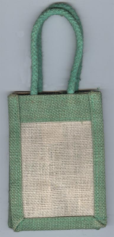 Milky white with Apple Green Border jute Bags