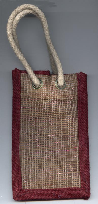 Tinsel Lined Natural with Burgandy Border Jute Gift Bags