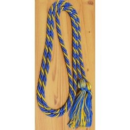 Royal blue and gold intertwined honor cord