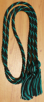 Black and Dark Green Intertwined Honor Cords