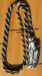 Black and White Braided Honor Cords