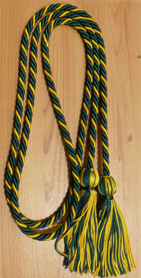 Dark Green and Gold Intertwined Honor Cords