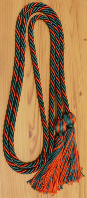 Dark Green and Red Intertwined Honor Cords