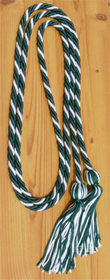 Dark Green and White Intertwined Honor Cords