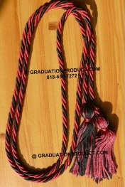 Hot Pink and Black Braided Honor Cords