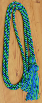 Royal Blue and Kelly Green Intertwined Honor Cords