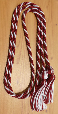 Maroon and White Intertwined Honor Cords