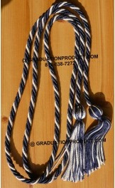 Navy Blue and White Braided Honor Cords