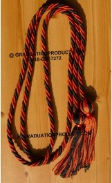 Orange and Black Braided Honor Cords