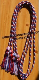 Red white and Royal Blue Intertwined tied Honor Cords