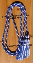Royal Blue and White Braided Honor Cords