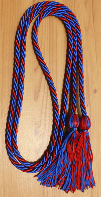 Royal Blue and Red Intertwined Honor Cords