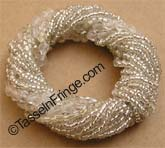 Silver glass Beaded Napkin Ring