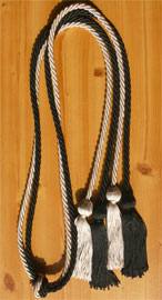 Black And Silver Double Tied Graduation Honor Cords