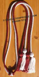Burgundy and White Double Tied honor cord
