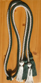 Forest Green and Light Blue Double Tied honor cord