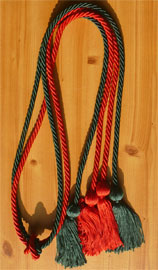 Forest Green and Red Double tied honor cord