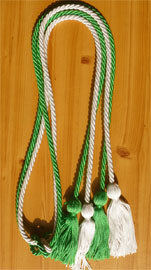 Kelly Green and White Double Tied honor cord
