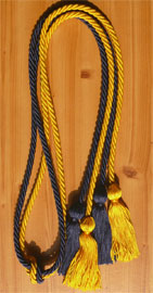 Navy Blue and Gold Double Tied honor cord