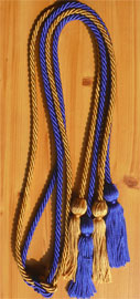 Old Gold and Royal Blue Double Tied honor cord