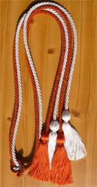 Orange and White Double Tied honor cord