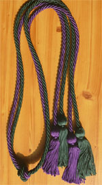 Purple and Forest Green Double Tied honor cord