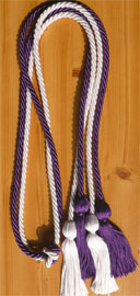 Purple and White Double Tied honor cord