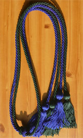 Royal Blue and forest Green Double Tied honor cord