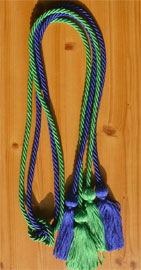 Royal Blue and Kelly Green Double Tied honor cord