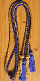 Royal Blue and Old Gold Double Tied honor cord